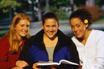 three girls reading