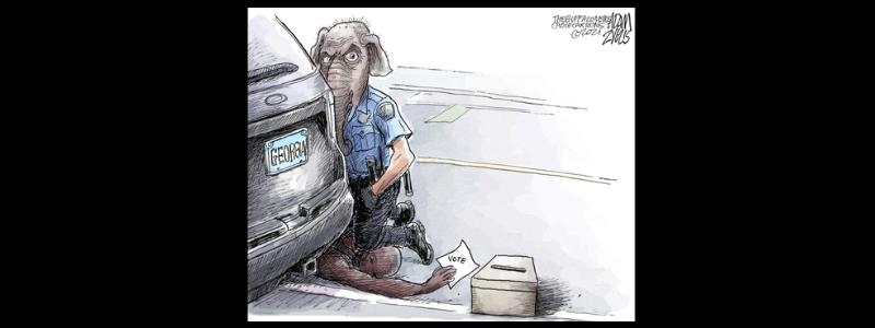 Georgia voter suppression, George Floyd and Matt Gaetz in this week's top political cartoons.