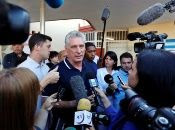 President of Cuba Miguel Diaz-Canel makes a statement Sunday as he arrives to a school to cast his vote on the new Cuban constitution, Havana (Cuba)