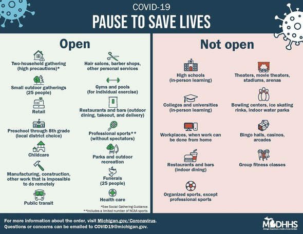 State of Michigan Pause to Save Lives Infographic