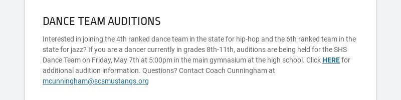 DANCE TEAM AUDITIONS Interested in joining the 4th ranked dance team in the state for hip-hop and...