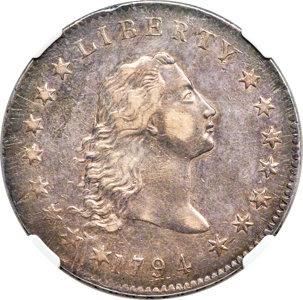 1794 $1 B-1, BB-1, R.4, AU58 NGC. CAC