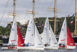 J/22s sailing Trave Race on river- Travemunde, Germany