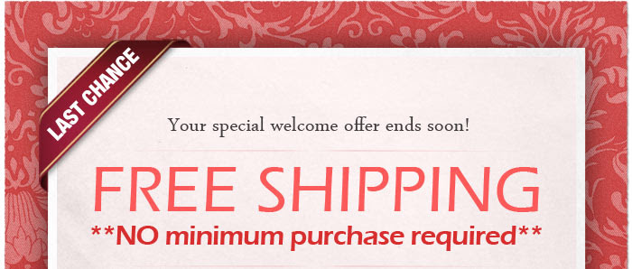 Last Chance! Your special welcome offer ends soon! FREE SHIPPING - no minimum required! Click here to shop now.