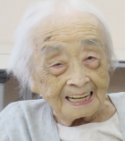 Chiyo Miyako of Japan is the world's oldest verified living person as of June 29, 2018, according to the Gerontology Research Group. She credits eating eel, drinking red wine, and never smoking for her longevity. (credit:  Medical Review Co., Ltd.)