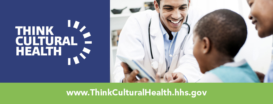 Think Cultural Health. www.thinkculturalhealth.hhs.gov. Doctor with young patient and mother.