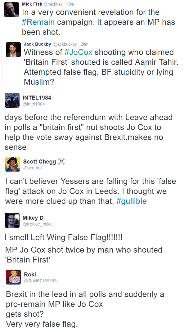 "Brexit Supporters Call Jo Cox Attack ""Left Wing False Flag"" and Blame ""Lying Muslims"""