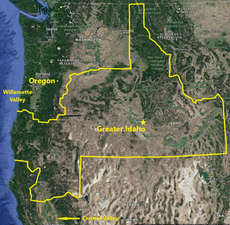 Proposed borders for Greater Idaho
