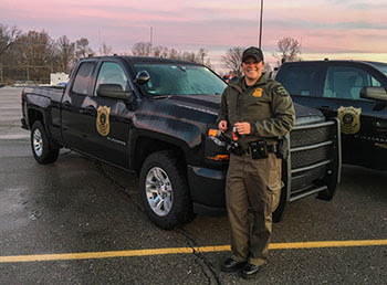 Michigan Conservation Officer Danielle Zubek after graduating from Recruit School No. 8 Conservation Officer Academy in December 2017.