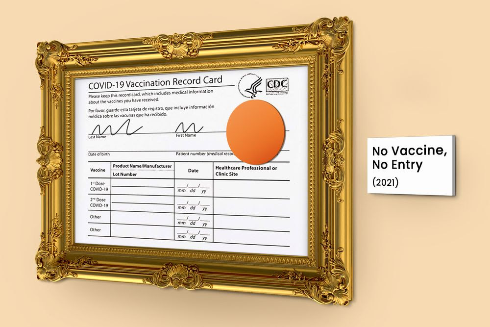 A framed picture of a vaccination record card