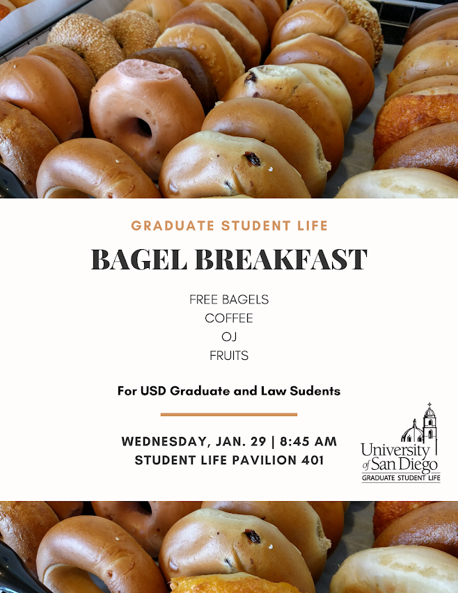 First Bagel Breakfast 2020: January 29 at 8:45am in SLP 401