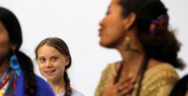 Thunberg, durante la comparencia. EFE