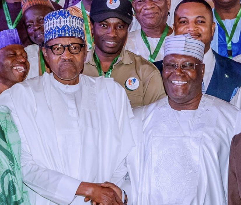 President Muhammadu Buhari (left) and Atiku Abubakar, a former vice president (right) [Twitter/@BashirAhmaad]