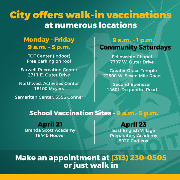 COVID-19 Vaccinations Walk-Ins Welcome 4.19.21