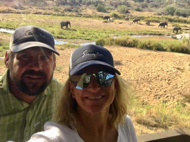 Ryan and Mal with Elephants at Singita