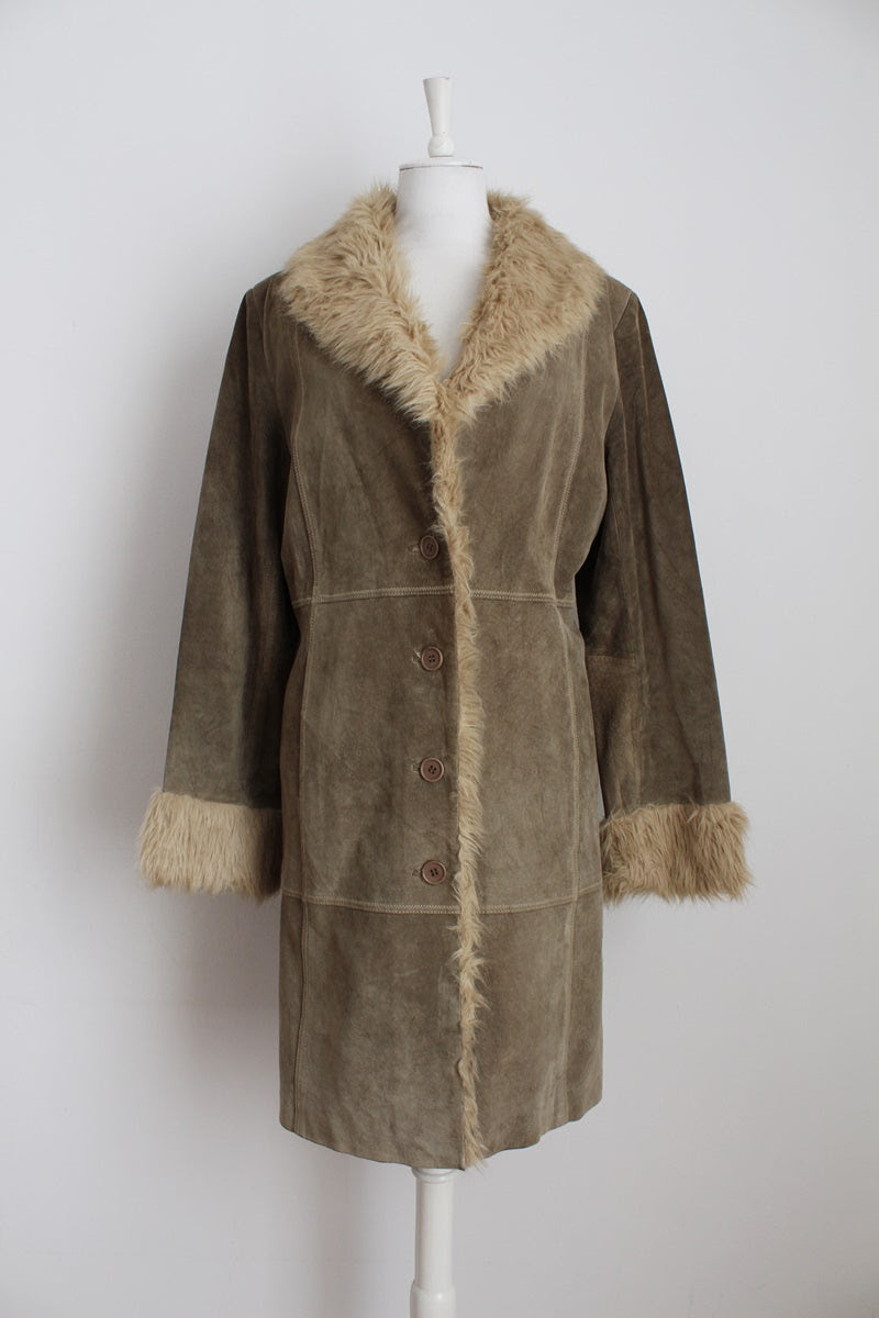 GENUINE SUEDE LEATHER FAUX FUR GREEN COAT - SIZE L