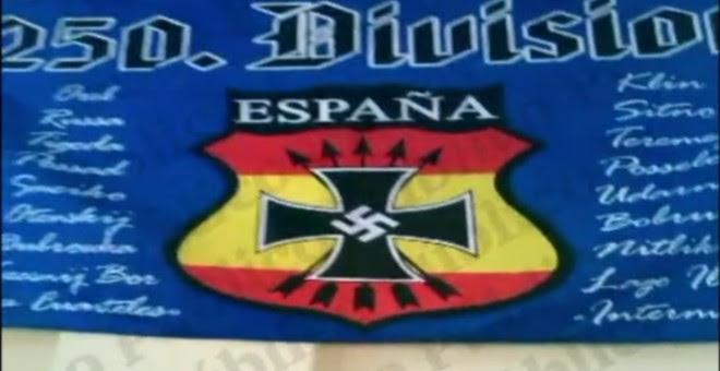 Captura del vídeo del cuartel del Regimiento de Cazadores de Montaña 'América' 66, en la que se ve la enseña de la División 250, conocida como División Azul. PÚBLICO