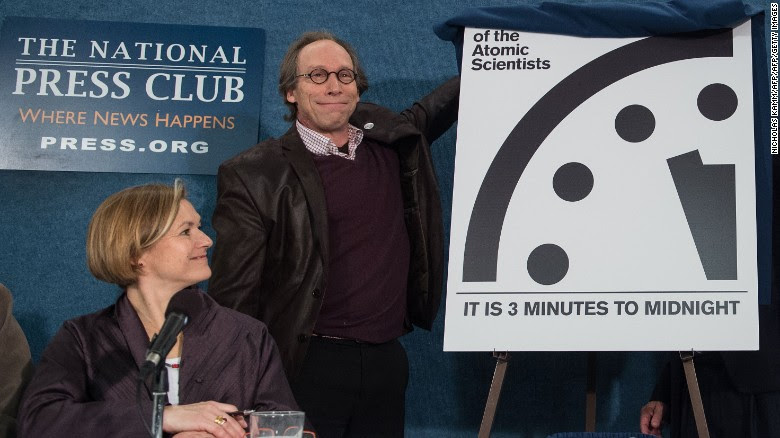 "Lawrence Krauss unveils the ""Doomsday Clock"" Tuesday, showing that the world is now three minutes away from catastrophe."