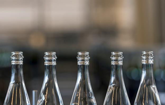 A row of empty bottles.