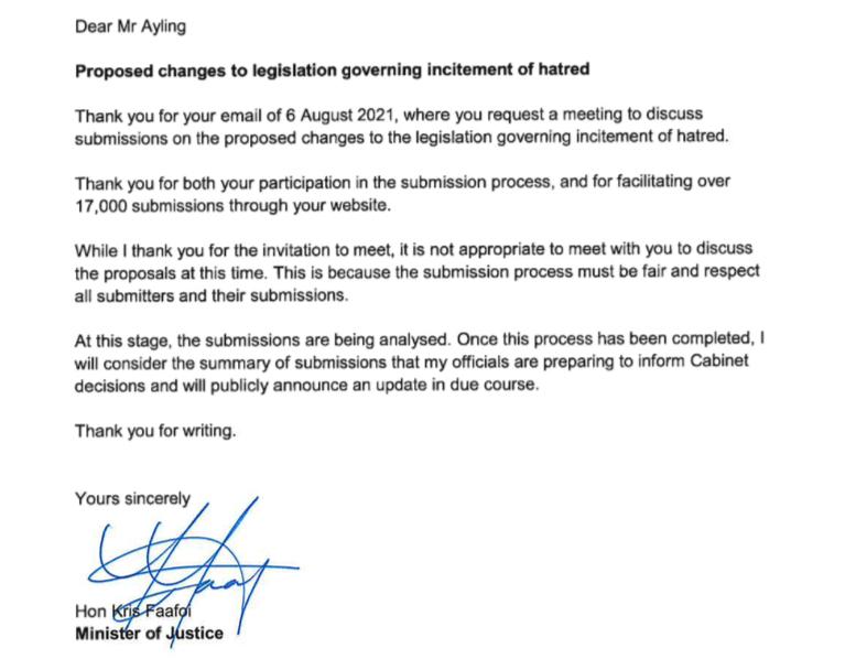 Kris Faafoi's letter