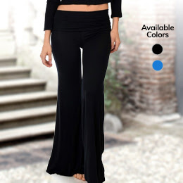 Lyss Loo Fold-Over Palazzo Flare Pants