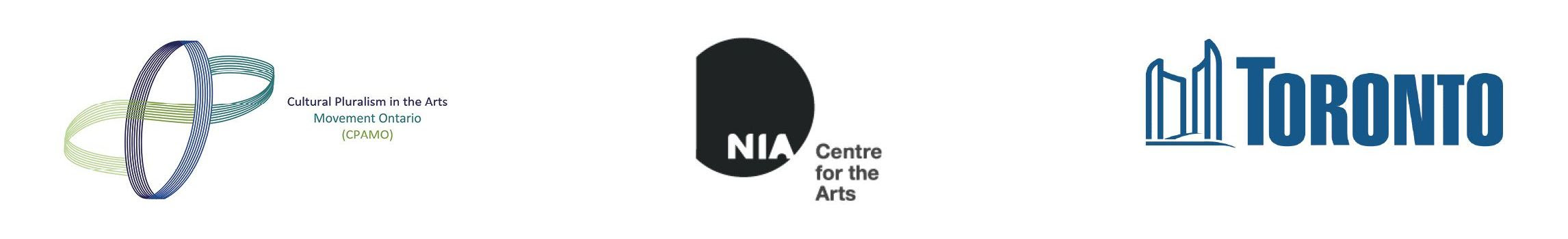 Logos of CPAMO, NIA Center for the Arts and the City of Toronto