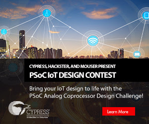 PSoC IoT Design Contest - Bring your IoT design to life with the PSoC Analog Coprocessor Design Challange