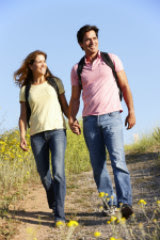 Couple walking in country
