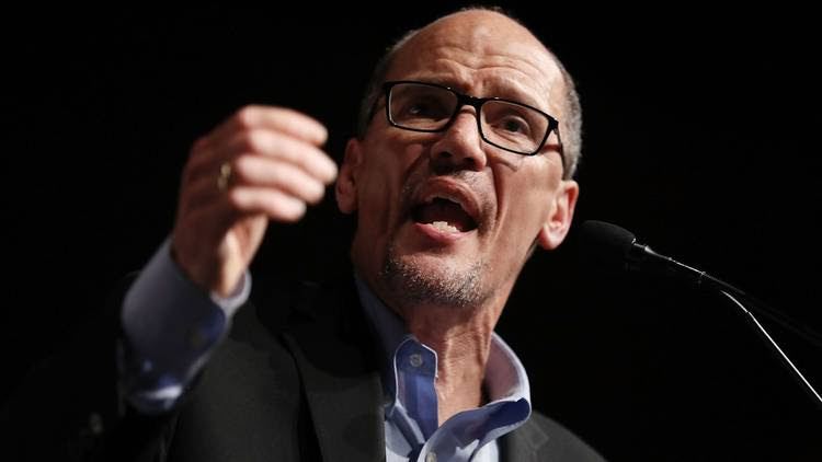 "DNC Chair Tom Perez speaks during a ""Come Together and Fight Back"" tour in Miami. (Joe Raedle/Getty Images)"