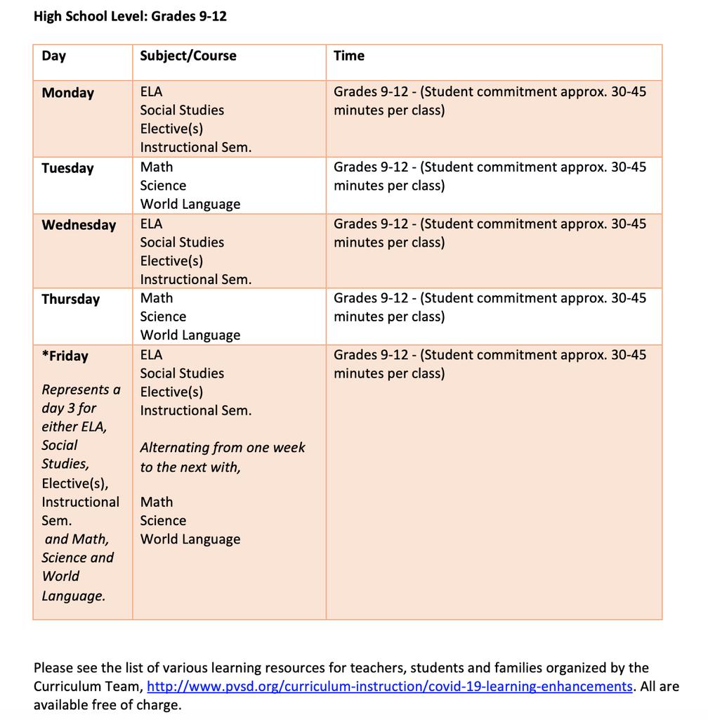 high school schedule