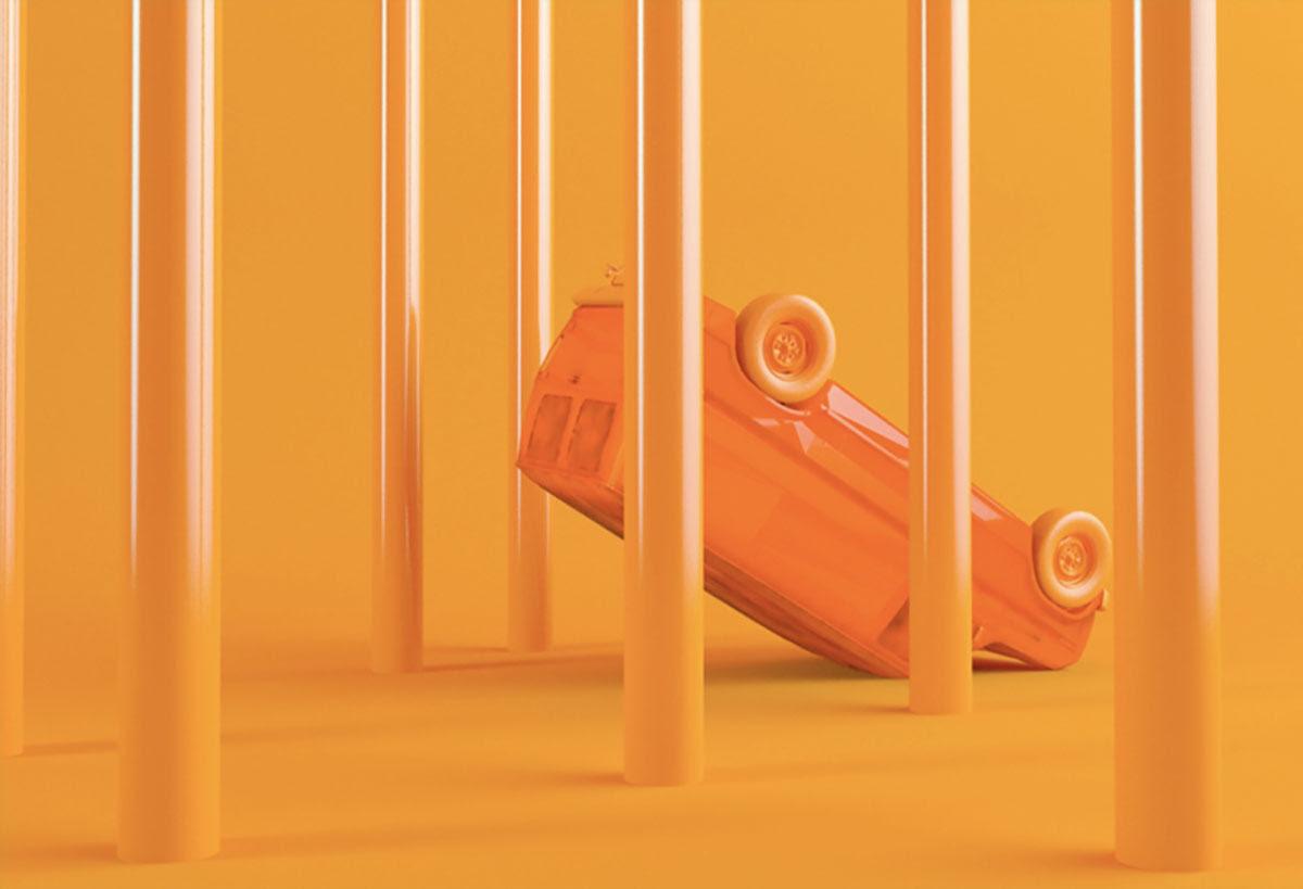 orange 3D car