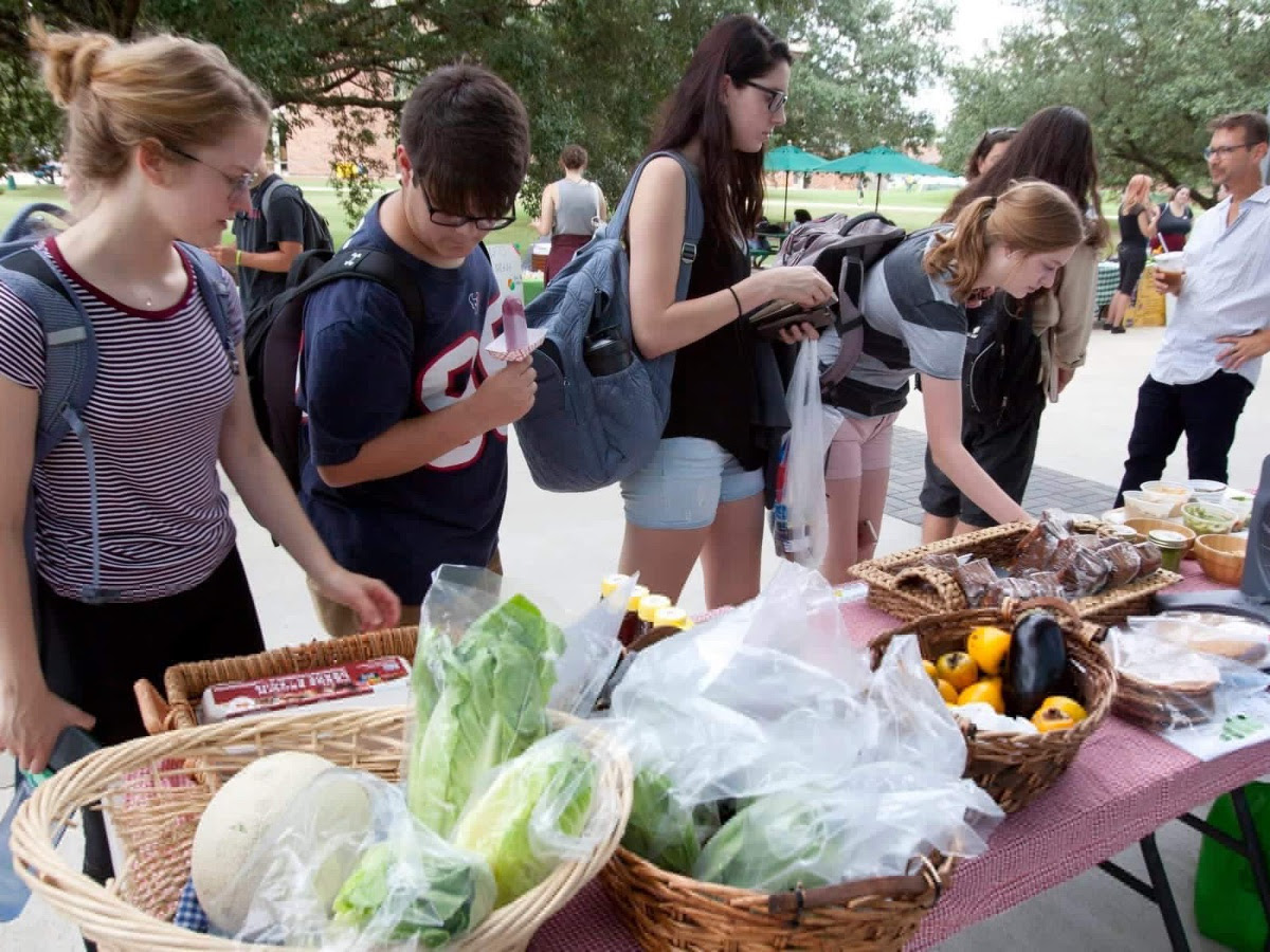 Students at a farmers market