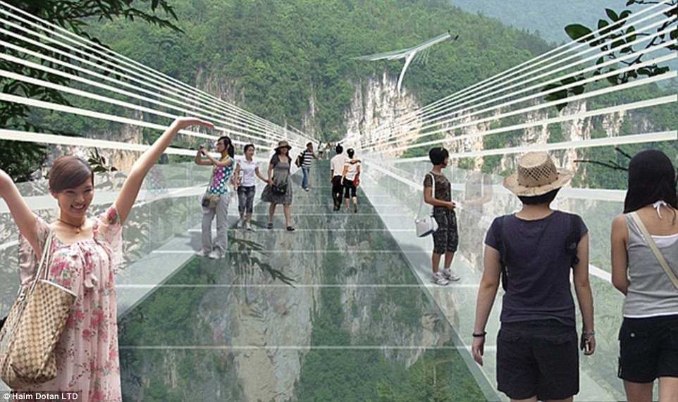 If you have vertigo look away!                                    The  world's highest and longest                                    glass-bottomed  bridge is set to open                                    in China in July