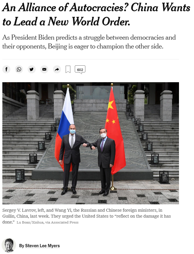 NYT: An Alliance of Autocracies? China Wants to Lead a New World Order.