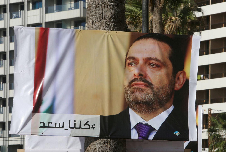 A poster depicting Lebanon's Prime Minister Saad al-Hariri. (Aziz Taher/Reuters)