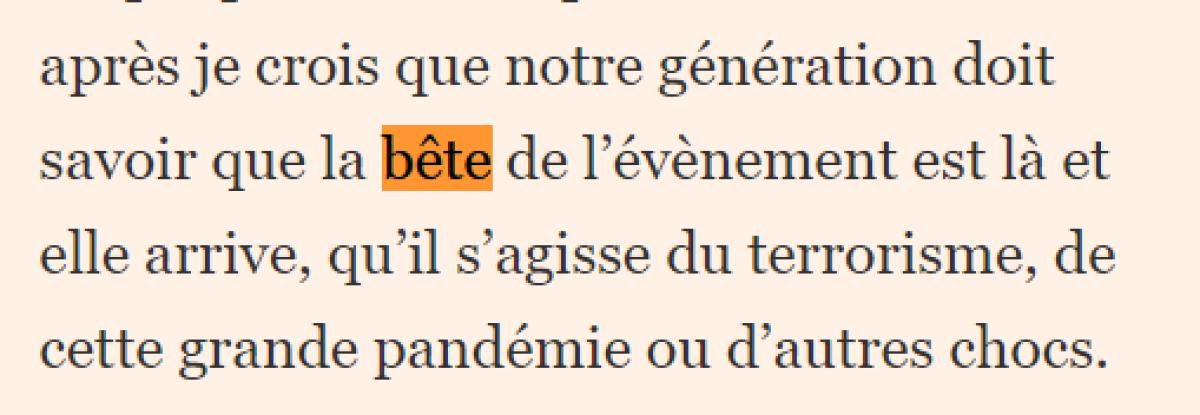 """Macron et""""l'arrivée de la Bête """" (sa petite phrase du 22 mai 2020)  3f57b10_i5t2-c1gW5zR760HvvUPePJP"""