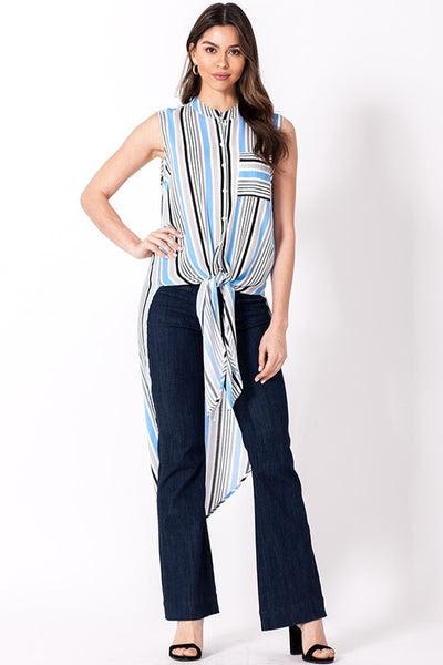 stripe button down sleeveless tunic