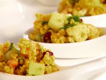 Curried Couscous Salad with Cauliflower, Cashews, Cranberries, Cucumber and Greek Yogurt Dressing