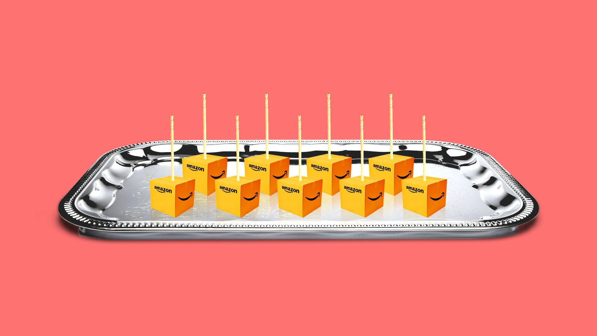 Illustration of small Amazon shipping boxes on a platter