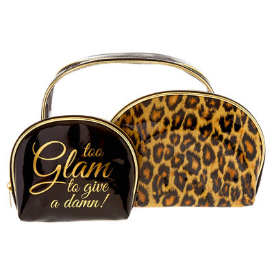 BLACK, GOLD & LEOPARD PRINT GLAM MAKEUP BAG TRIO SET
