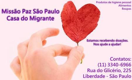 Campanha da Missão Paz  para arrecadação de artigos necessários para atender aos imigrantes. Crédito: Divulgação