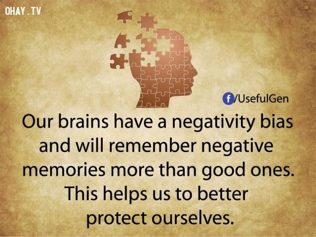 4. Não của chúng ta có khuynh hướng tiêu cực và sẽ ghi nhớ những ký ức tiêu cực nhiều hơn những ký ức tốt đẹp. Điều này giúp chúng ta bảo vệ bản thân tốt hơn.,tâm lý học,sự thật thú vị,những điều thú vị trong cuộc sống,khám phá,sự thật đáng kinh ngạc,phụ nữ