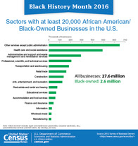 Black History Month 2016: Sectors with at Least 20,000 Black-Owned Businesses in the US
