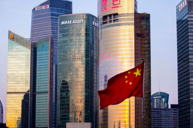 Edifícios envidraçados e altos na China