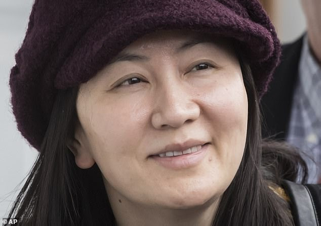 Huawei's CFO Meng Wanzhou (pictured) is facing criminal charges in the U.S. Ms Meng was arrested in Vancouver by Canadian police in December under the request of Washington