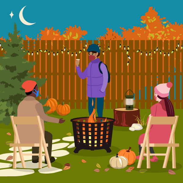 illustration of friends gathering outdoors wearing masks and six feet apart