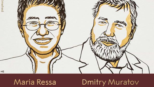 Prêmio Nobel da Paz é atribuído a Maria Ressa e Dmitry Muratov