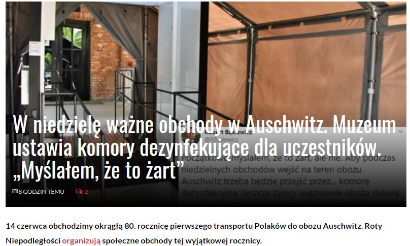 Media Narodowe - https://medianarodowe.com/w-niedziele-wazne-obchody-w-auschwitz-muzeum-ustawia-komory-dezynfekujace-dla-uczestnikow-myslalem-ze-to-zart/