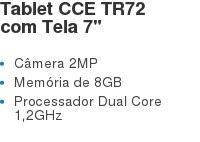 """Tablet CCE TR72 com Tela 7"""" Câmera 2MP Memória de 8GB Processador Dual Core 1,2GHz"""