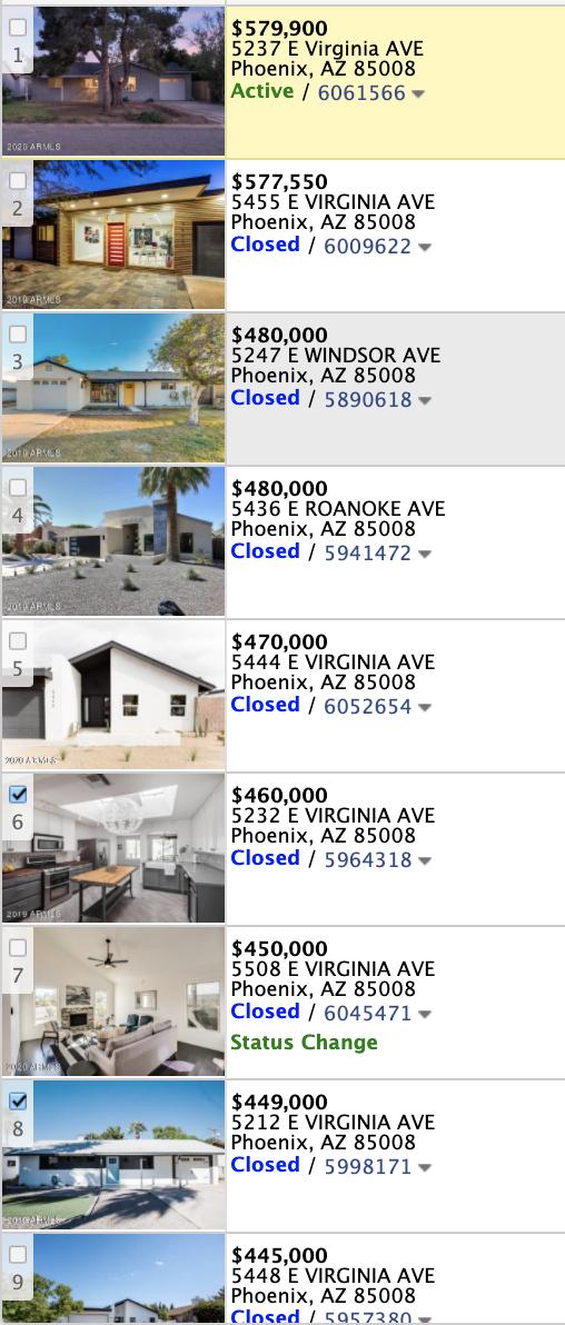 5317 E Virginia Ave, Phoenix AZ 85008 comparable sales market activity